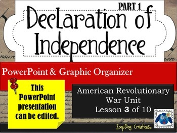Declaration of Independence (part 1) PowerPoint and Graphi