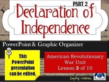 Declaration of Independence (part 2) PowerPoint and Graphi