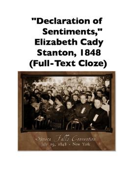 Declaration of Sentiments by Elizabeth Cady Stanton (Full-