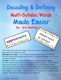 Decode-Define Multisyllabic Words