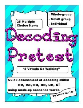 "Decoding Phonics Assessment - ""2 Vowels Go Walking"""