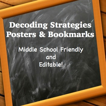 Decoding Strategies Posters & Bookmark (editable)