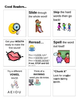 Decoding Strategies for Good Readers Anchor Chart