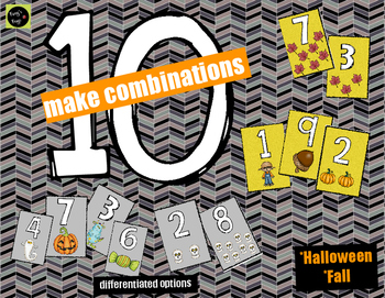 Decomposing/Composing 10 Number Cards {Halloween and Fall Themed}