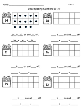 Decomposing Numbers 11-19 K.NBT.1 FREEBIE
