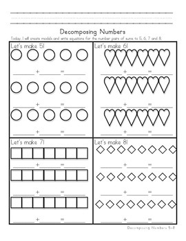 Decomposing Numbers 5-8