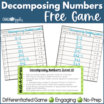FREE Decomposing Numbers Math Game - MathAGories
