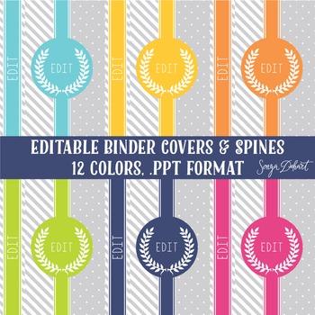 Classroom Decor - 12 Elegant Binder Covers and Spines Polk