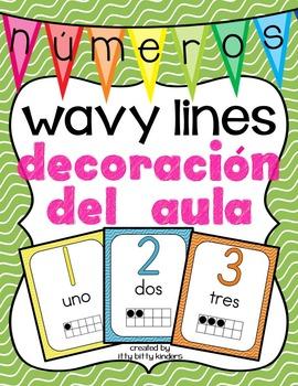 los números: Decoración del aula wavy lines