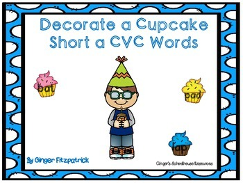 Decorate a Cupcake Short a CVC Words Game