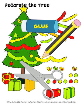 Decorate the Tree Colour, Cut and Paste Worksheet - Christ