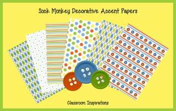 Decorative Accent Papers - Coordinates with Sock Monkey Cl