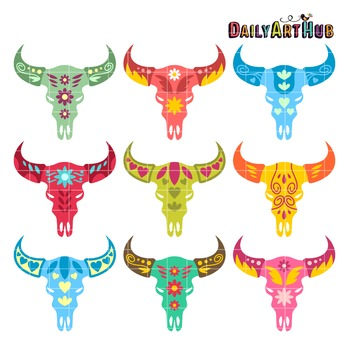 Decorative Animal Skull Heads Clip Art - Great for Art Cla