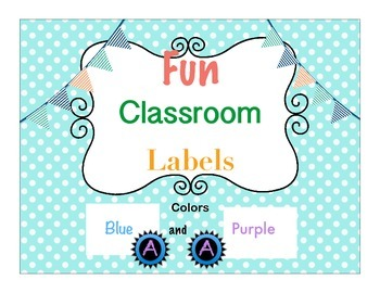 Decorative Classroom Labels Blue and Purple