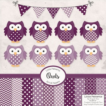 Plum Owl Vectors & Papers - Baby Owl Clipart, Owl Clip Art