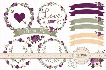 Deep Plum Wedding Floral Clipart & Vectors - Flower Clip A