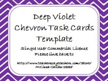 Deep Violet Chevron Task Card/Scoot Card Templates