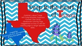 Deep in the Heart of Texas: Speech & Language Activities