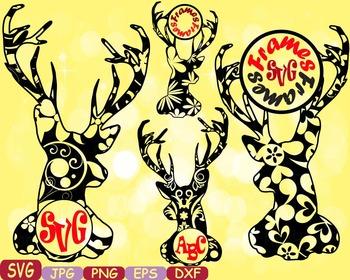 Deer Circle Frame reindeer Jungle Animal mascot SVG school