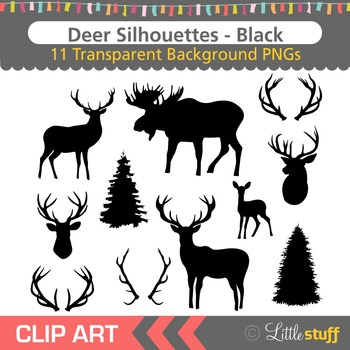 Deer Silhouette Clipart, Deer Head Silhouettes, Moose Silh