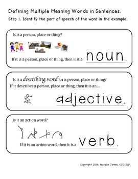 Defining Multiple Meaning Words