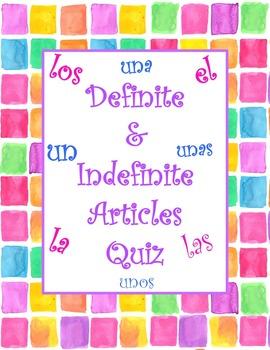 Definite and Indefinite Article Quiz