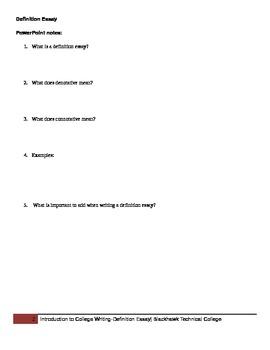 Definition Essay note sheet