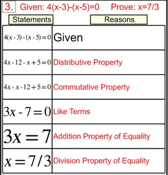 Degree 1 Equation Proofs in 2 Column Tables, Intro + 5 Ass