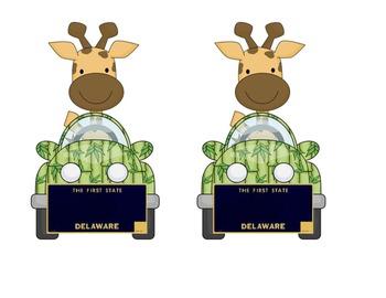 Delaware Giraffe in a car: Name plate for desktag for jung