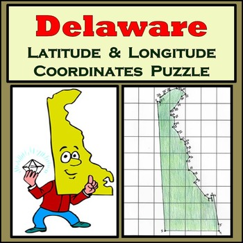 Delaware State Latitude and Longitude Coordinates Puzzle -