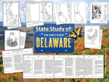 Delaware State Study Interactive Notebook and Bulletin Boa