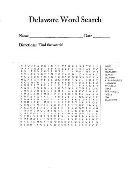 Delaware Word Search!