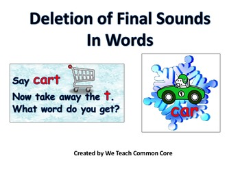 Deletion of Final Sound Phonemic Awareness Word Work Daily