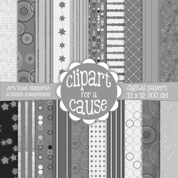 Deluxe Digital Papers: Black White & Gray/Grayscale Scrapb