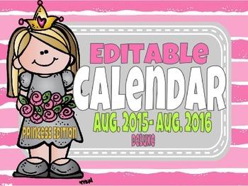 Deluxe Editable Calendar Princess Edition Super Cute Crown
