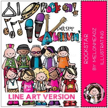 Melonheadz: Rockstars clip art - LINE ART