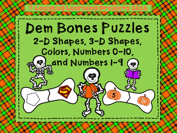 Dem Bones Puzzles  (Shapes, Colors, and Numbers)