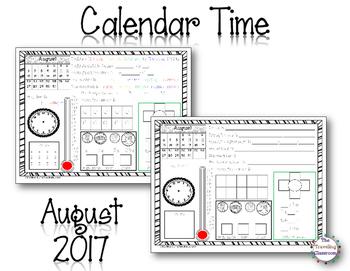 MORNING WORK Calendar Time Worksheets - August 2017