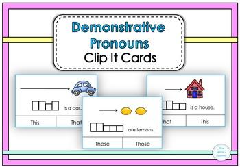 Demonstrative Pronouns Clip It Cards