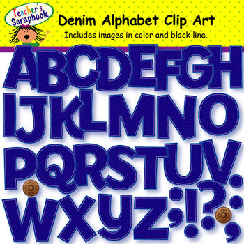 Denim Alphabet Clip Art