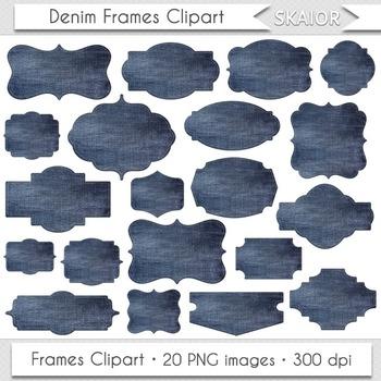 Denim Frames Clipart Jeans Borders Clip Art Blue Printable