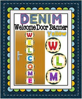 Denim Themed Welcome Door Banner-Yellow Flower
