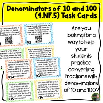 Denominators 10 and 100 QR Task Cards (4.NF.5)