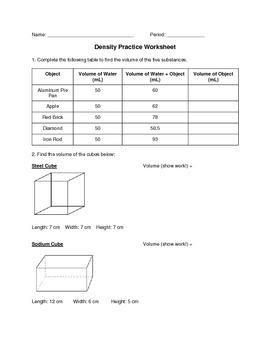 Density Practice Worksheet