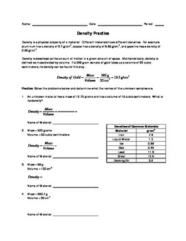 Density Practice and Quiz with Answers