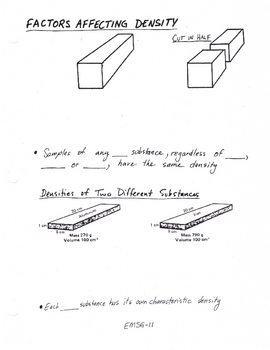 Density Problems - post lab questions (diagrams specific gravity)