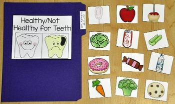 Dental Health File Folder Game:  Healthy/Unhealthy Foods F