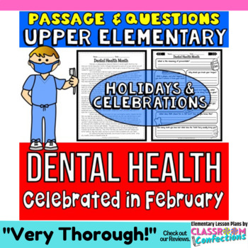 Dental Health Month: Passage and Questions: Reading Compre