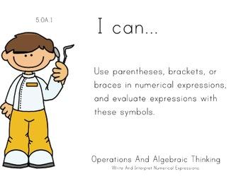 Dentist Kids Theme 5th grade math Common Core Posters Fift