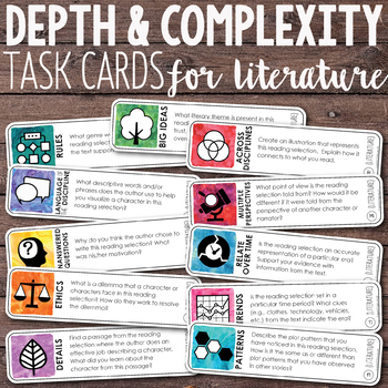 Depth and Complexity | Critical Thinking Task Cards for Li